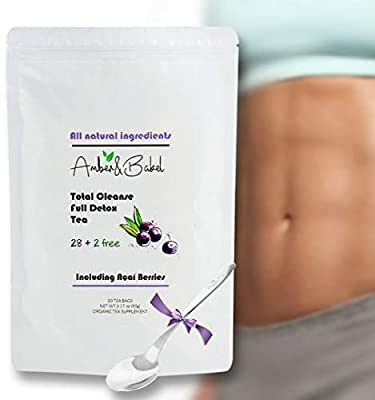 28 + 2 Free Day Total Cleanse, Full Detox Teatox Bags | Branded Spoon for Free | All Natural Herbal Ingredients + Dried Acai Berry | Weight Loss Tea | Immune Booster and Body Optimizer by Amberbakel