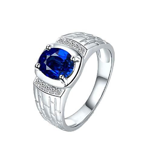 Bishilin Anillo de Oro Blanco 750 Reales Clásico Bandas de Boda Azul Zafiro Diamante Anillo de Compromiso Marrige Ajuste Cómodo Forma Redonda Regalos para El Aniversario de Navidad Plata Azul