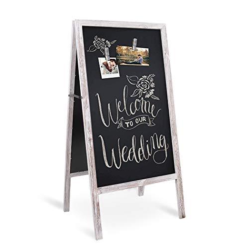 40 x 20 Inch Rustic Sidewalk Chalkboard Extra Large Magnetic Freestanding Wood Sandwich Board, Sturdy A-Frame Chalkboard Rustic Menu Display for Restaurant Business Wedding, Greyish White