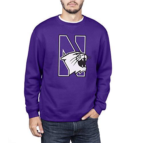 NCAA Northwestern Wildcats Men's Crew Sweatshirt Team Icon Touchdown, Purple, Large