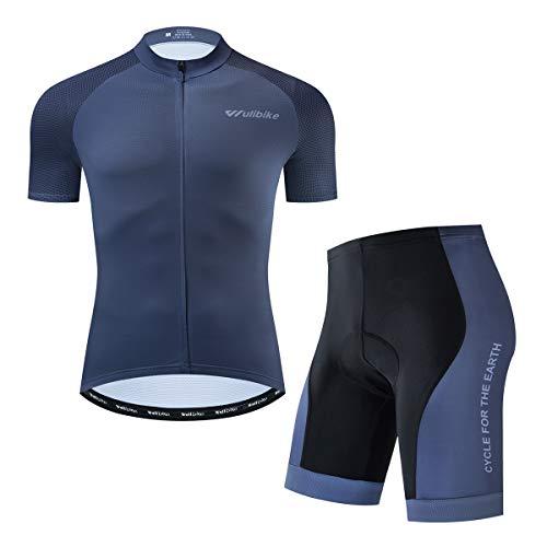Conjunto de maillot de ciclismo Iogas para hombre, camiseta de manga corta y pantalón de bicicleta de montaña con asiento acolchado, monocolor, Hombre, gris, large