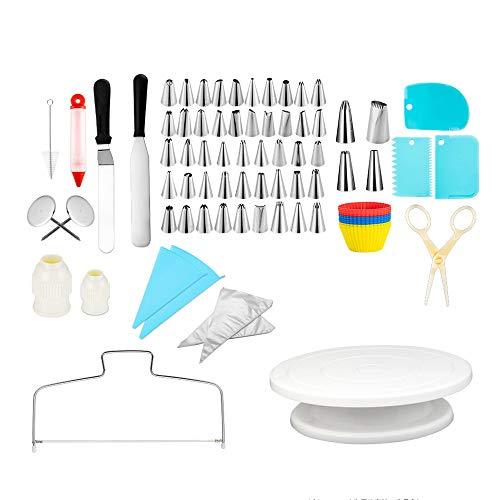 Equipo de decoración para tartas, CSYP 106 piezas de decoración de tartas, suministros para hornear, equipo de bricolaje con soporte giratorio antideslizante