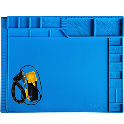 Kaisi 21.6 x 16.9 Inch Large Electronics Repair Mat Silicone Soldering Magnetic Repair Pad Insulation Work Station with Anti Static Wrist Strap for Computer, Laptop, MacBook, Tablet, Phone and More