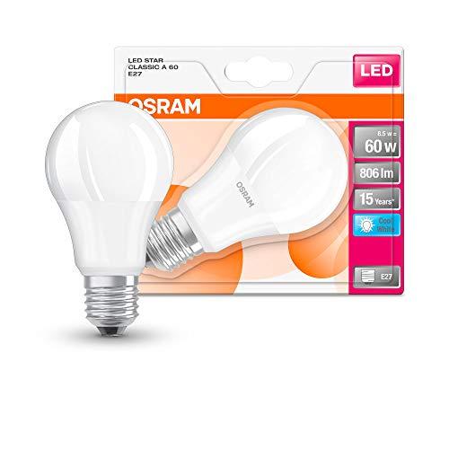Osram LED Star Classic A Lampe, in Kolbenform mit E27-Sockel, nicht dimmbar, Ersetzt 60 Watt, Matt, Kaltweiß - 4000 Kelvin, 1er-Pack