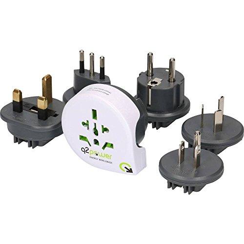 Q2 Power QPLUX WORLD 5in1, WORLD to AUS, EU, IT, UK, USA, Adattatore Universale da Viaggio con Presa a Terra, Protezione Anti Scossa, Voltaggio e Potenza Max. 100V-1600W / 250V-4000W, Bianco/Grigio