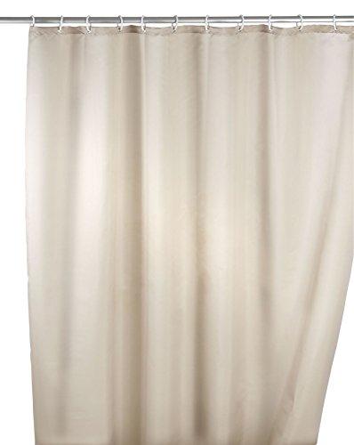 WENKO Anti-Schimmel Duschvorhang Uni Beige - Anti-Bakteriell, Textil, waschbar, wasserabweisend, schimmelresistent, mit 12 Duschvorhangringen, Polyester, 180 x 200 cm, Beige