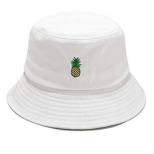 Umeepar Embroidered 100% Cotton Bucket Hat Packable Beach Sun Hat for Women Men (Pineapple White)