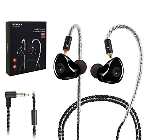 in Ear Monitor,DCMEKA Dynamic Hybrid Wired Earbuds, Dual Driver in-Ear Earphones Musicians in Ear Headphones with MMCX Detachable Cables, Noise-Isolating Earbuds, HiFi Stereo (Black)