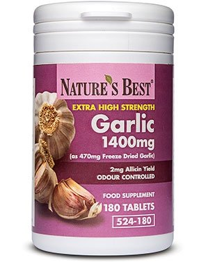 Garlic Tablets 1400mg - High Strength & Rich in Allicin – 180 Tablets - Taste & Odour Controlled - UK Made – Equivalent to 1400mg of Fresh Garlic