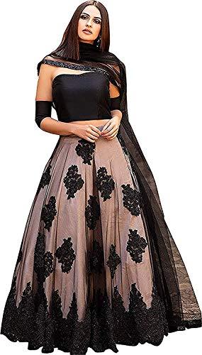 Lovisa Fashion Women's Net Semi-Stitched Lehenga Choli (Black Bauty_Black_Free Size)