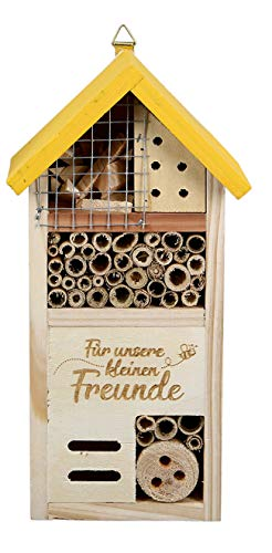 dekojohnson Insektenhotel Insektenhaus Wildbienenhotel Wellnesshotel für Insekten Insektenkasten Naturschutz im Garten Gartendeko gelb Natur 14x8x26cm