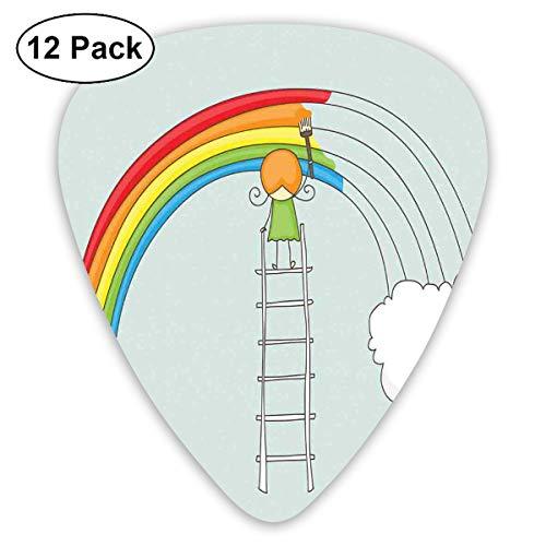 Gitaar Picks12pcs Plectrum (0.46mm-0.96mm), Doodle Van Een Meisje Op Ladder Schilderen Regenboog Met Wolken Op Bleke Toned Achtergrond,Voor Uw Gitaar of Ukulele