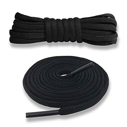 Junlic Schnürsenkel Rund, [3 Paar] Reißfest Ersatz Schuhbänder 100% Polyester 6 mm breit Schnürsenkel für Sportschuhe und Sneaker Schwarz