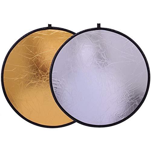 FQF Accesorios de fotografía 20' / 50 cm asidero Multi Portable Plegable Disco Reflector de luz for el Estudio de la fotografía 2en1 Oro y Plata
