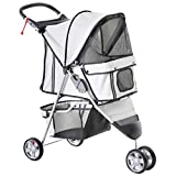 PawHut D00-041GY 3 Wheel Pet Stroller Folding Cat Dog Jogger Carrier Grey
