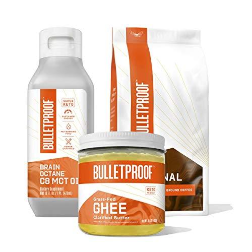 Bulletproof Keto Coffee Starter Kit - The Original Whole Bean Coffee - 12 Oz, 100% C8 MCT Brain Octane Oil - 16 Oz, Grass-Fed Ghee Pasture Raised Clarified Butter Fat - 13.5 Oz