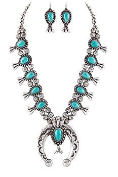 Jayde N  Grey Navajo Southwestern Squash Blossom Turquoise Necklace  Turquoise Large Size