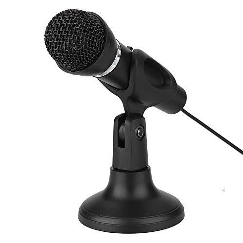 Demeras Micrófono de PC con Soporte de micrófono Micrófono de Condensador de grabación Jack de 3,5 mm Profesional con botón de Silencio para PC