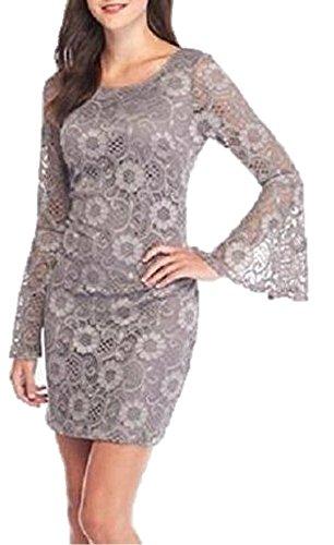 Amanda Lane Women's Grey Lace Allover Bell Sleeve Dress, 2X