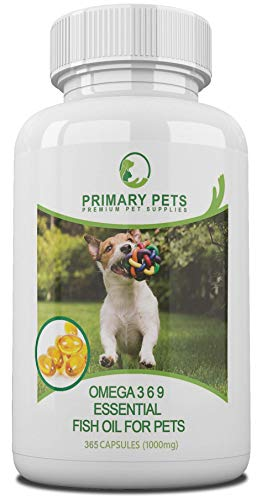 Primary Pets Omega Fish Oil for Dogs. 365 (1000mg) Softgels. Omega 3 6 9 for Dry Skin, Allergies, Stiff Joints and Brain function