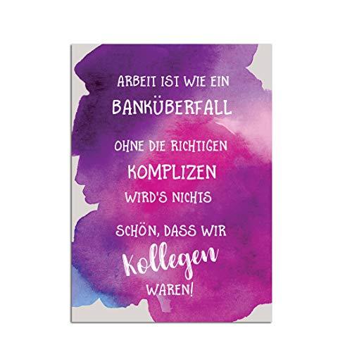"""Postkarte Kollegen Abschied\""""Banküberfall\"""" Kollegen Geschenk Postkarte Sprüche Ruhestand Karte"""