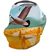 Fall Scenic Decor Nursing Cover for Baby Breastfeeding, Soft Breathable Stretchy Carseat Canopy, Nursing Cover Up for Girls, Boys - Wild Geese Flying in The Autumn Fields