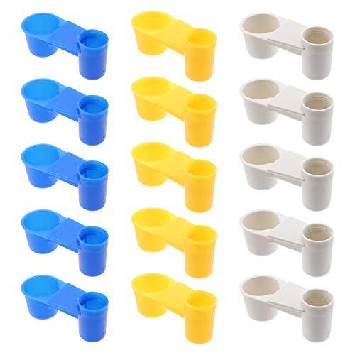 YARNOW 15 Piezas Bebedero de Pájaros Taza de Plástico Soda Pop Botella de Agua Pollo Palomas Comedero de Paloma Accesorios de Alimentación de Animales (Azul Blanco Amarillo)