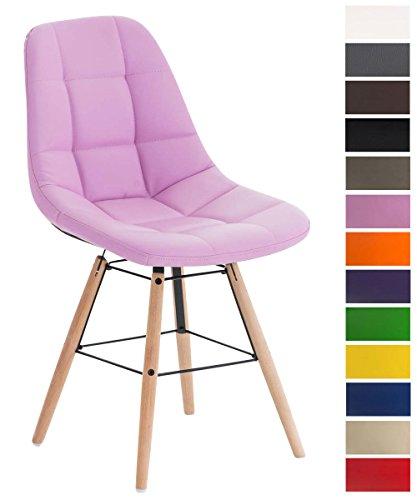 CLP Esszimmerstuhl Tammy mit Kunstlederbezug | Lehnstuhl mit Buchenholzgestell | Polsterstuhl | Sitzhöhe: 47 cm Pink