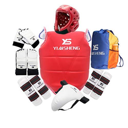 ZLBZBB Taekwondo Kampfsport Boxen Gear Set mit Tasche, Sparring Ausrüstung, Rot, Erwachsene Kinder Berufsausbildung, Schutzanzug S