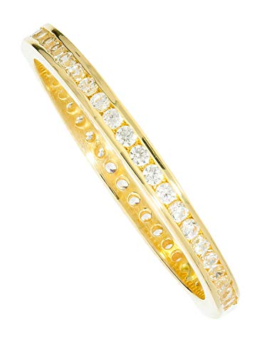 Ring Gelbgold 333 Gold (8 Karat) Mit Stein Zirkonia Zart 3mm Memory Memoire Rundum Damenring Fingerring Goldring Gr.52 Cora R-07950-G301-CZC-whi-W52