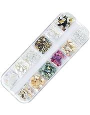 12 Kolory Sea Shell 3D Natural Charm Nail Art Decoration Kawalek Shimmer Pearl Jewelry Nail Tip Stud Diy mody paznokci manicure Tool (2) pielegnacja paznokci