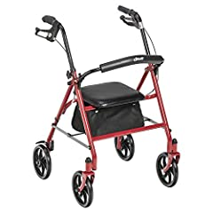Four Wheel Rollator provides reliable support with maximum comfort and is ideal for uneven or outdoor terrain Features deluxe loop locks for safety, non marking wheels, and a convenient pouch for personal belongings Built in padded seat with backrest...