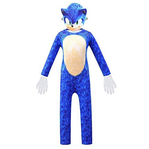 Petainer Disfraz Sonic The Hedgehog Halloween Navidad Cosplay Costume con Máscara y Guantes (B, 140)