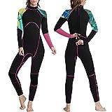 OMGear Wetsuit Men Women 3mm Neoprene Full Body UV Protection One Piece Long Sleeves Scuba Diving Suits Back Zipper Swimsuit for Scuba Diving Surf Snorkeling Swimming (Black&Rose, XS)