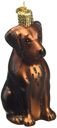 Old World Christmas Dog Collection Glass Blown Ornaments for Christmas Tree,Chocolate Labrador