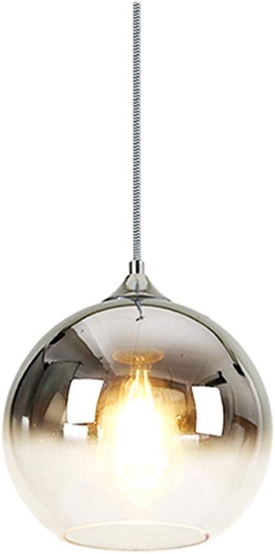 Lustre en verre, lampe de décoration de bar de chevet de chambre à coucher de restaurant de mode personnalisé, lustre en boule de verre (Couleur   argent, Taille   25cm)