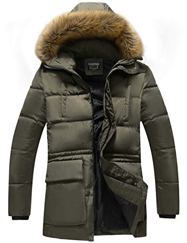 GLESTORE Men's Winter Hooded Cotton Coat Puffer Thick Padded Jacket Army Green XXL