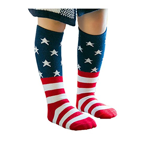 Efanr Kids USA Flag Socks Casual Crew Fashionable Cotton Striped and Star Socks (4~6 years old)