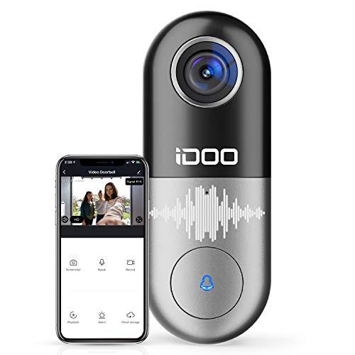 Video Doorbell WiFi – iDOO 1080p HD Video Camera doorbell, 2-Way Audio Home Security Front Door Bell, Motion Detector, Secure Local Storage, Easy Installation (Requires Existing Doorbell Wires)