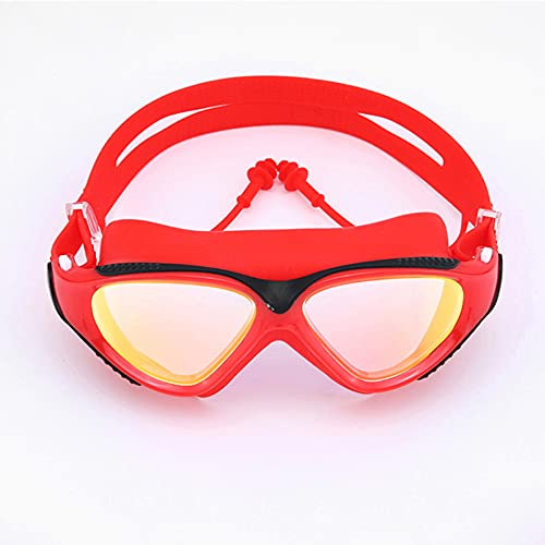 CellLucky Gafas de natación profesionales para adultos, impermeables, protección UV, antivaho, ajustable, color rojo, talla única)
