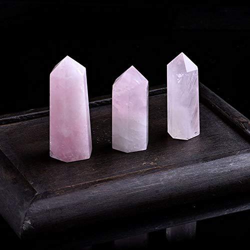 BTZHY 1PC Natürliche Rose Quartz-Kristall-Punkt Mineral Ornament Magie Repair Stick Familie Home Decoration Study Dekoration DIY Geschenk (Size : 70 80 mm)