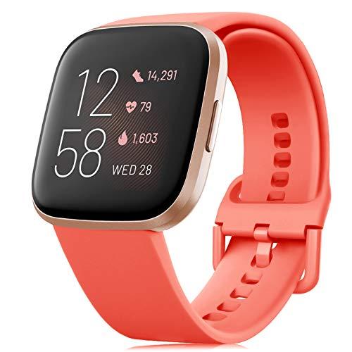 RIOROO Correa Compatible para Fitbit Versa Pulsera/Versa 2 Correa/Versa Lite Correas/Blaze Pulseras,Silicona Banda de Relojes para Hombres Mujeres, Deportivo Recambio de Pulsera Coral,S