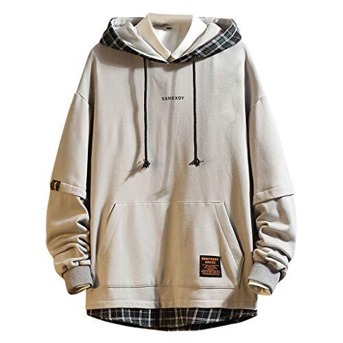 Kapuzenpullover Herren Casual für Pullover für Herren, Holeider Basic Kapuzen-Sweatshirt Langarm Hoodie für Herren Herbst Winter Kariert Patchwork Mode Streetwear