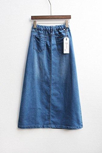 NiSeng Mujeres Largo Falda De Mezclilla Empalme Vaquera Falda Casual Jeans Falda Denim Falda Azul XL
