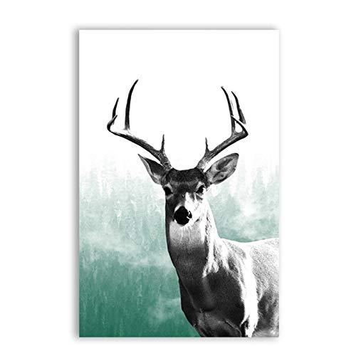 zgwxp77 Waldtier Hirsch Leinwand Wohnzimmer Malerei Natur Wildhirsch Wandkunst Bild Leinwanddrucke nach Hause Minze grau Dekoration30x40cm ohne Rahmen