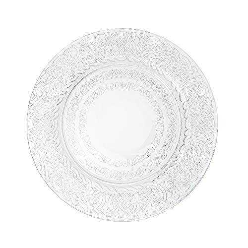 Simply Elegant 13-inch Glass Round Charger Plates (4-Set) with Celtic Design Pattern in Metallic Finish (Silver)