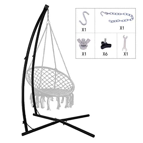C-Type Hammock chair Stand, Heavy Duty Steel Solid Hammock Rack Stand, Adjustable Height, for Hanging Chairs,Tree tent,Loungers, Air Porch, Swings , Indoor/Outdoor Patio, Yard, 220lbs Capacity (BLACK)