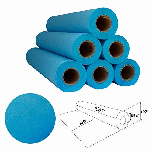 Papel de camilla Parafinado (caja de 6 unidades) de 0,60 x 65m (1,5kg)   Rollo Color Azul parafinado Sin Precorte