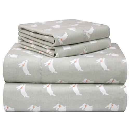 Pointehaven 180 GSM Velvet Feel Luxury Cotton Printed Flannel Sheet Set, Queen, Bunnies