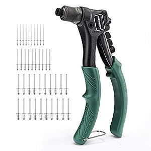 METAKOO Remachadora Manual, Pistola Remachadora con 4 Cabezales de Codificación de Colores Intercambiables, Juego Remachador Manual 4 en 1 con Remaches de 40 Piezas - MHR01H